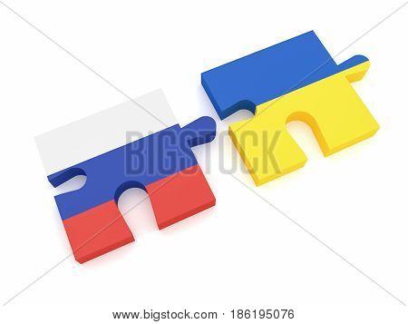Russia Ukraine Partnership: Russian Flag And Ukrainian Flag Puzzle Pieces 3d illustration on white background