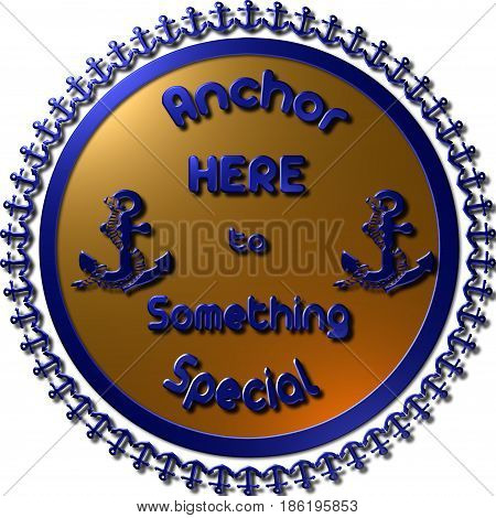 A Golden Vintage 3D anchor badge and label. Seal with anchors around and two anchors on the seal with text