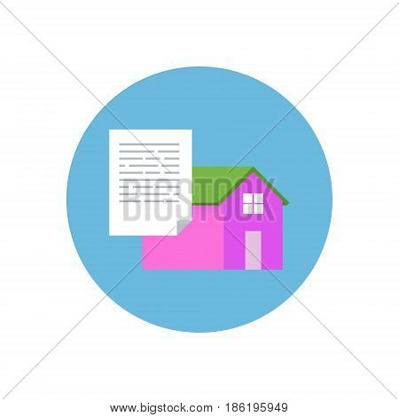 Flat Design Realty Icon Home with Document. Vector illustration