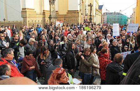OLOMOUC, CZECH REPUBLIC - MAY 10: people protesting on demonstration against minister Andrej Babis and president Milos Zeman in Olomouc, Czech Republic, May 10, 2017