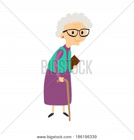 Old woman with cane. Senior lady with glasses walking. Vector illustration.