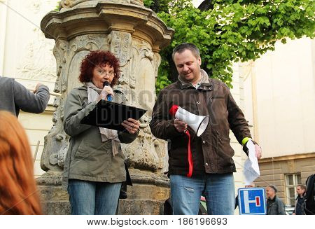 OLOMOUC, CZECH REPUBLIC - MAY 10: protesters talking on demonstration against minister Andrej Babis and president Milos Zeman in Olomouc, Czech Republic, May 10, 2017