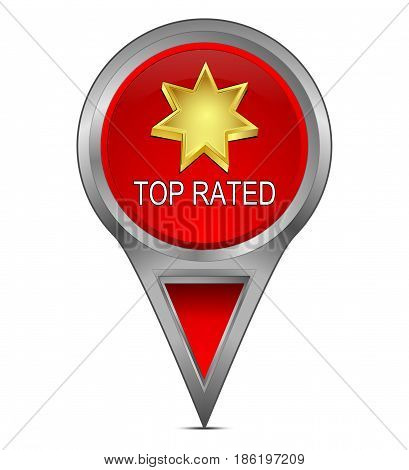 red Map pointer with Top Rated - 3D illustration