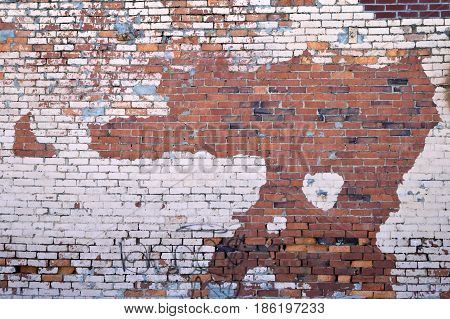Old grunge brick wall building exterior backdrop