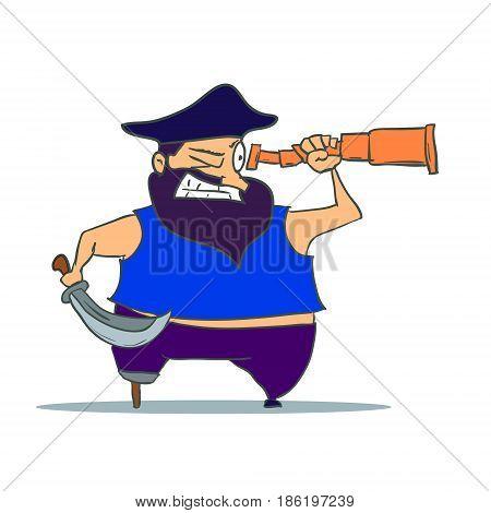 Cartoon one-legged Pirate with Spyglass. Vector illustration