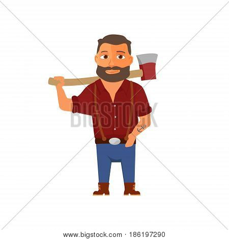 Cartoon lumberjack character with axe. Vector illustration