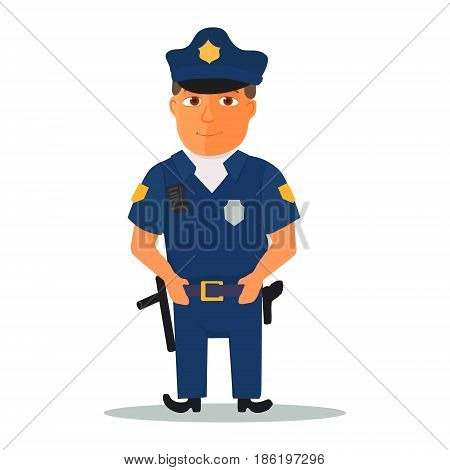 Cartoon policeman character on white background. Vector illustration