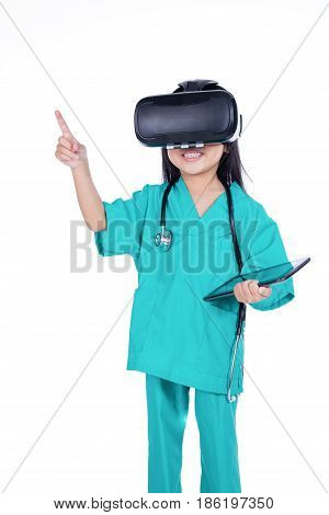 Asian Chinese Girl Playing Doctor With Tablet And Vr Goggles
