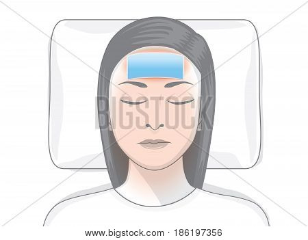 Reduce fever patches on forehead area of ill woman. Illustration about first aid at home.