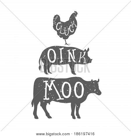 Farm Anilmals Silhouette. Chicken, pig and cow. Vector illustration