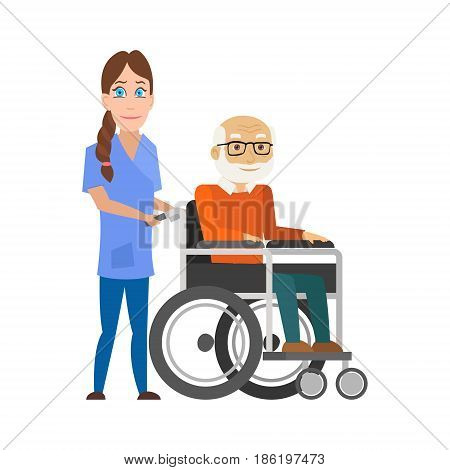 Young nurse pushing wheelchair with disabled old man. Helping elderly and sick people. Vector illustration