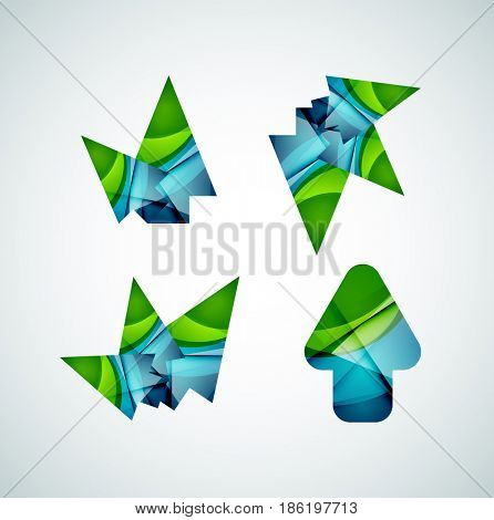 icon, arrow mouse pointer or directional symbol. Geometric abstract design