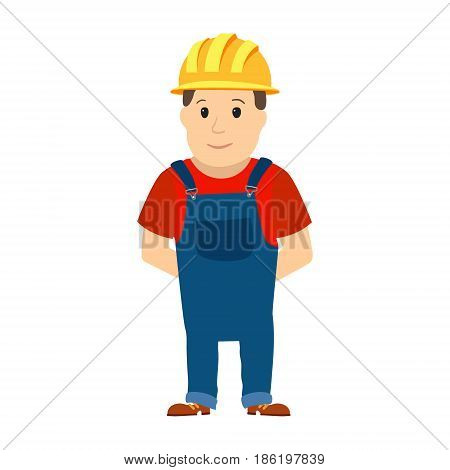 Happy cartoon repairman or construction worker with safety hat. Vector illustration