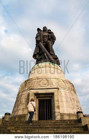 Monument In War Memorial Treptov Park For Soviet Soldiers In Ber