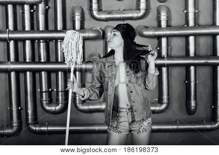 Beautiful Sexy Girl With A Mop In Hands