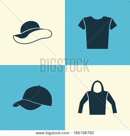 Garment Icons Set. Collection Of Sweatshirt, Elegant Headgear, Casual And Other Elements. Also Includes Symbols Such As Wear, Visor, Sweatshirt.