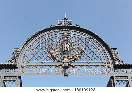 Saint Etienne, France - August 17, 2016:Portal of the old French state-owned manufacturing company located in the town of Saint-Etienne, France