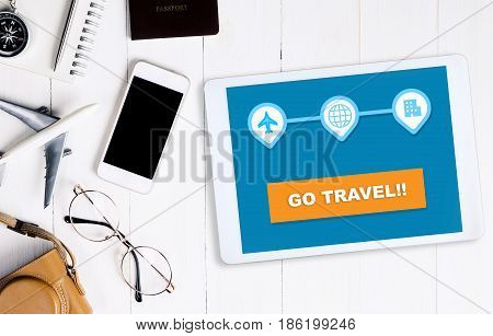 Online travel website on tablet