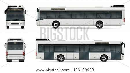 City bus vector template for car branding and advertising. Isolated passenger transport set on white background. All layers and groups well organized for easy editing and recolor. View from left and right side front back.