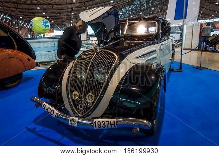 STUTTGART GERMANY - MARCH 02 2017: Large family car Peugeot 402 Grand Luxe (N4Y) 1937. Europe's greatest classic car exhibition