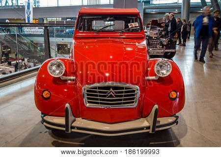 STUTTGART GERMANY - MARCH 02 2017: Economy car Citroen 2CV. Europe's greatest classic car exhibition