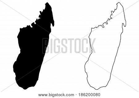 Madagascar map vector illustration , scribble sketch Madagascar