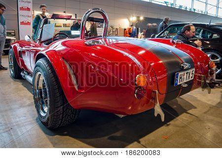 STUTTGART GERMANY - MARCH 02 2017: Roadster Phoenix-Cobra 1989. Rear view. Europe's greatest classic car exhibition