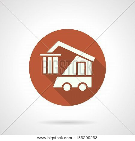 Abstract white silhouette of logistics machine. Loader with hook for loading and distribution of goods. Round flat design orange vector icon, long shadow.