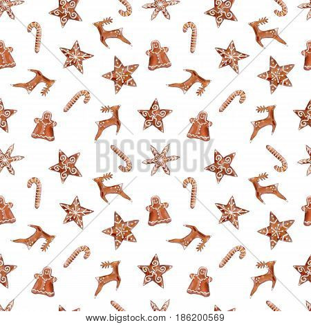 Watercolor seamless pattern with gingerbread cookies. Watercolor illustration on white background. Gingerbread man deer stars and gingerbread candy cane symbol in watercolor seamless pattern.