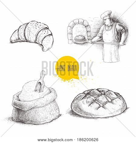 Hand drawn set bakery illustrations. Baker making fresh bread in stone ovencroissant fresh bread loaf wheat flour sack with wooden scoop. vector drawing isolated on white background.