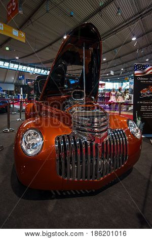 STUTTGART GERMANY - MARCH 02 2017: Pickup Chevrolet AK Series 1946. Europe's greatest classic car exhibition