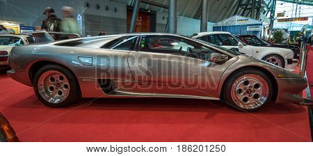 STUTTGART GERMANY - MARCH 02 2017: Sports car Lamborghini Diablo 5.7 1995. Europe's greatest classic car exhibition