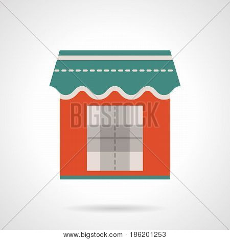 Symbol of trade red kiosk with awning. Commercial constructions and objects. Flat color style vector icon.