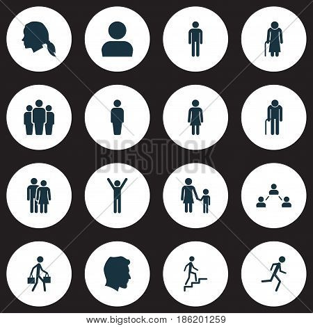 People Icons Set. Collection Of Family, Gentlewoman Head, Grandpa Elements. Also Includes Symbols Such As Jogging, Mister, Ladder.