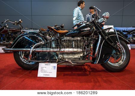 STUTTGART GERMANY - MARCH 02 2017: Motorcycle Indian Four 1940. Europe's greatest classic car exhibition