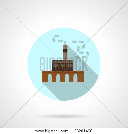 Symbol of metallurgical factory. Industrial building and architecture. Round flat design vector icon.