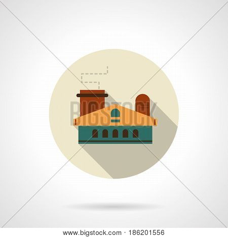 Symbol of light industry building. Factories, plants and other industrial architecture. Round flat design vector icon.