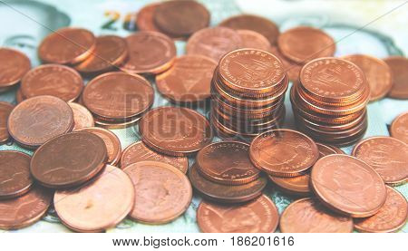 metal money, various coins, lots of money, coins.