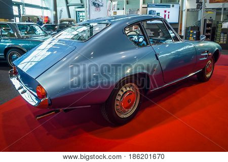 STUTTGART GERMANY - MARCH 02 2017: Sports car Fiat 1500 GT Ghia 1964. Rear view. Europe's greatest classic car exhibition
