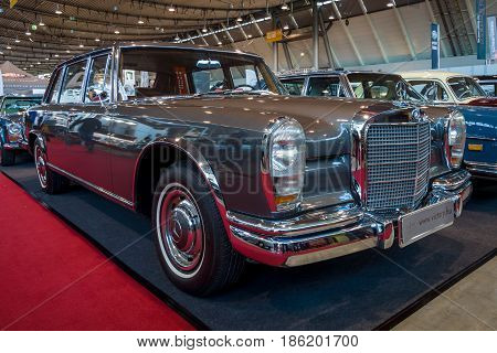 STUTTGART GERMANY - MARCH 02 2017: Full-size luxury car Mercedes-Benz 600 (W100) 1965. Europe's greatest classic car exhibition