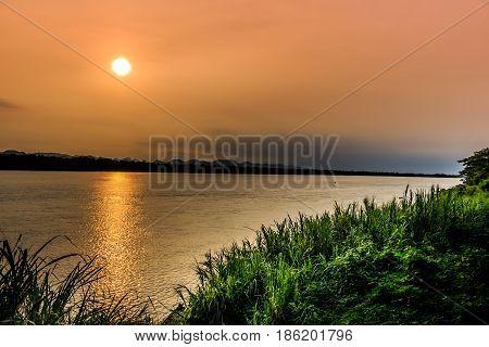 Kong river border between Thailand and Laos under the sunrise at nakhonphanomThailand.