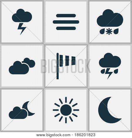 Meteorology Icons Set. Collection Of Weather, Flash, Moon And Other Elements. Also Includes Symbols Such As Wet, Clouds, Outbreak.