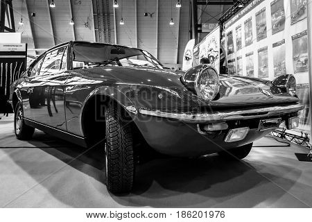 STUTTGART GERMANY - MARCH 02 2017: Vintage car Fiat 125S Samantha by Carrozzeria Vignale 1969. Black and white. Europe's greatest classic car exhibition