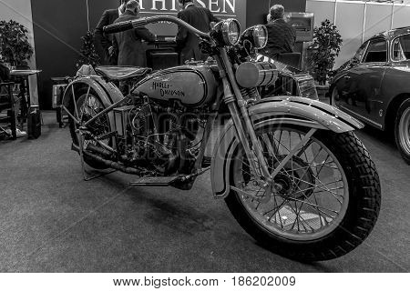 STUTTGART GERMANY - MARCH 02 2017: Motorcycle Harley-Davidson Type JD 1929. Black and white. Europe's greatest classic car exhibition