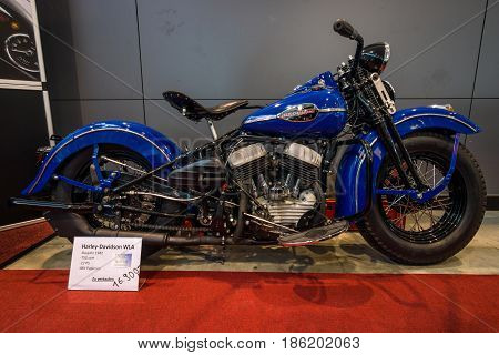 STUTTGART GERMANY - MARCH 02 2017: US Army motorcycle Harley-Davidson WLA 1942. Europe's greatest classic car exhibition