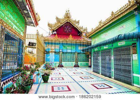 MIANDALAY,MYANMAR - MARCH 6, 2017:Soon U Ponya Shin Pagoda at Sagaing.  Mandalay, on March 6, 2017, Myanmar. (Burma)