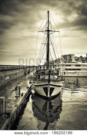 Greek traditional wooden cruise hull at marina Zeas Piraeus Greece