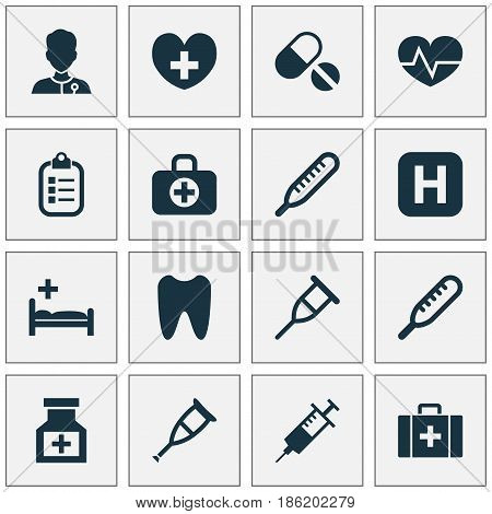 Drug Icons Set. Collection Of Ache, Heal, Claw And Other Elements. Also Includes Symbols Such As Syringe, Tooth, Hospital.