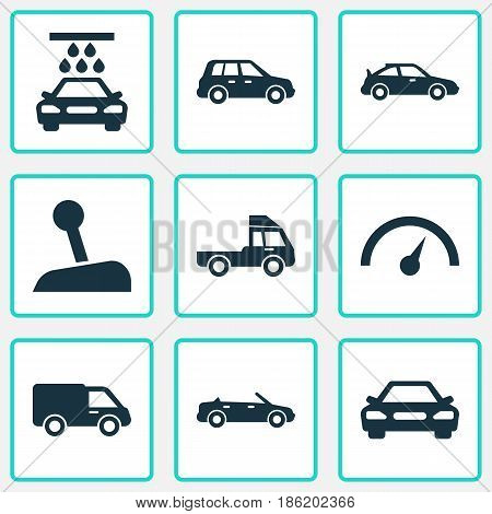 Automobile Icons Set. Collection Of Van, Auto, Stick And Other Elements. Also Includes Symbols Such As Speed, Truck, Van.