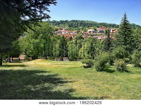 View of the park and part of Metsovo. A mountainous village in Epirus. Greece